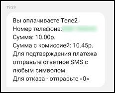 СМС с уведомлением о переводе