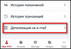 Детализация на e-mail