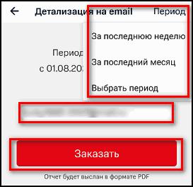 Выбор периода, почта, кнопка Заказать