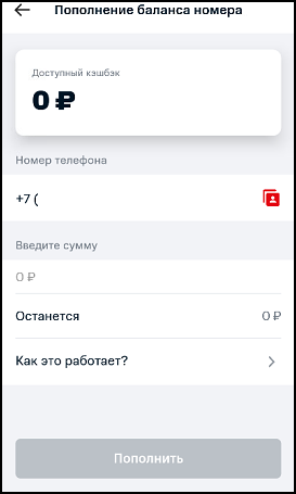 Пополнение номера в приложении